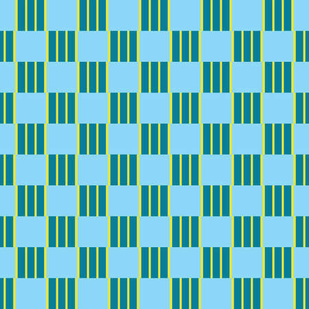 Vector seamless pattern texture background with geometric shapes, colored in blue and yellow colors. Иллюстрация
