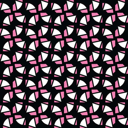 Vector seamless pattern texture background with geometric shapes, colored in pink, black and white colors.