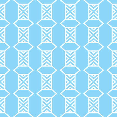 Vector seamless pattern texture background with geometric shapes, colored in blue and white colors.