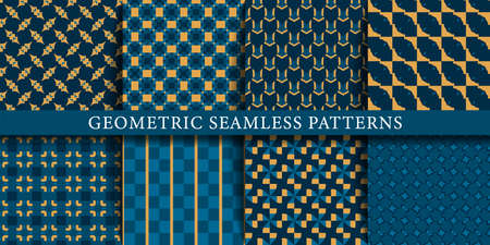 Vector set of geometric seamless patterns design shapes.