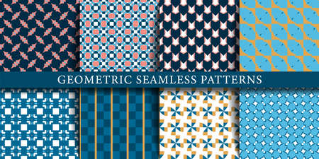 Set of geometric seamless patterns in geometric graphic design Иллюстрация