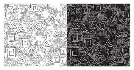 Vector abstract seamless pattern set. Texture background, circle, square and triangle shapes, lines, black and white. Иллюстрация