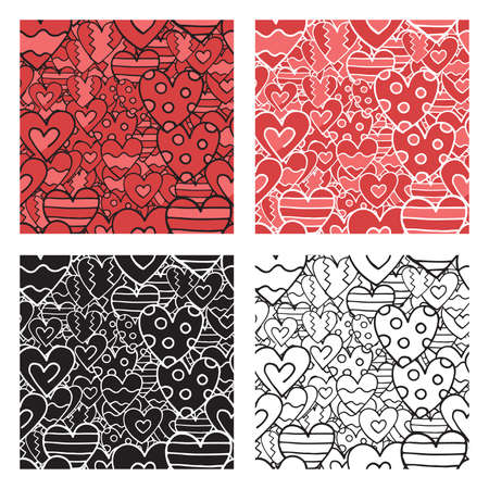 Vector hand drawn seamless pattern set. Texture background, heart shapes, red colored, black and white.