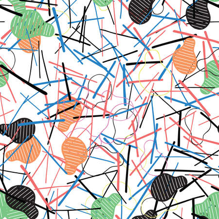 Vector abstract seamless pattern. Texture background, colored and black shapes, lines. Иллюстрация