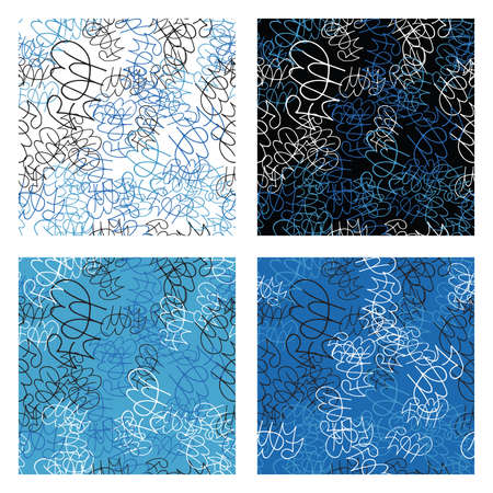 Vector abstract hand drawn lines seamless pattern set. Texture background, colored, blue, black and white colors.