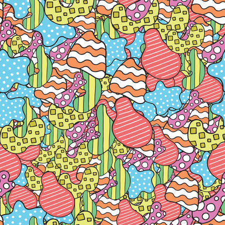 Vector abstract hand drawn seamless pattern. Texture background, colored shapes. Иллюстрация