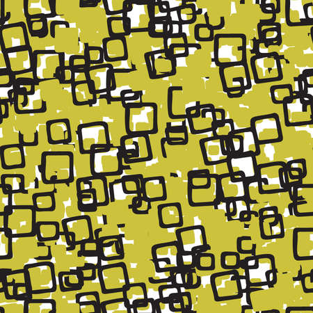 Vector abstract hand drawn seamless pattern. Texture background, yellow and black colored shapes and lines.
