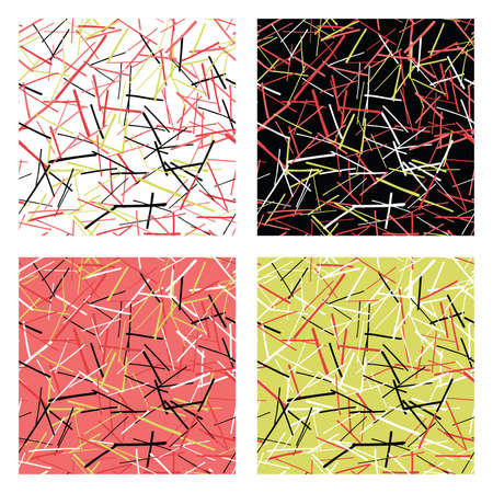 Vector abstract seamless pattern set. Texture background, colored, black and white lines, backgrounds.