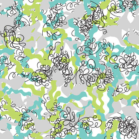 Vector abstract hand drawn seamless pattern. Texture background, green, grey and black colored shapes and lines.