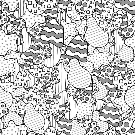 Vector abstract hand drawn seamless pattern. Texture background, black, grey and white colored shapes. Иллюстрация