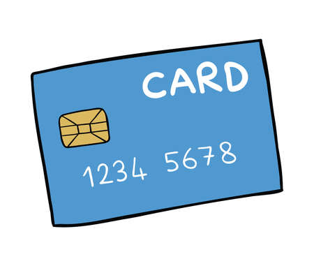 Cartoon vector illustration of credit card. Colored and black outlines.