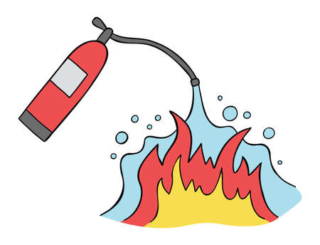 Cartoon vector illustration of fire extinguisher and fire extinguishing. Colored and black outlines.