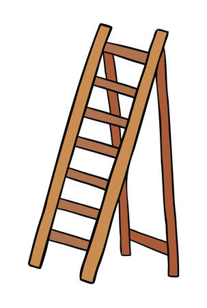 Cartoon vector illustration of wooden stepladder. Colored and black outlines.