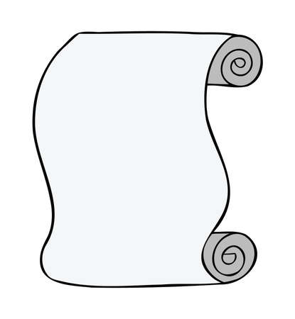 Cartoon vector illustration of paper scroll. Colored and black outlines.