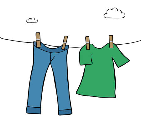 Cartoon vector illustration of hang laundry clothes on a clothes line, jeans and t-shirt. Colored and black outlines. Vetores