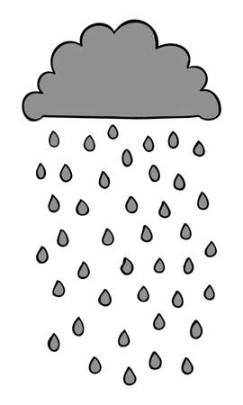 Cartoon vector illustration of black cloud and rain. Colored and black outlines.