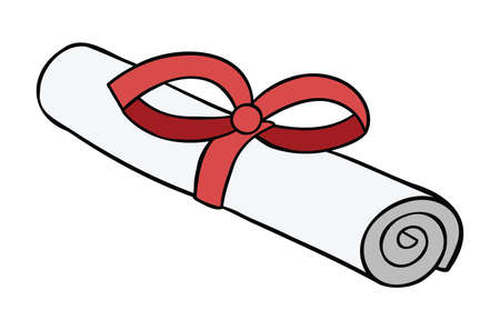 Cartoon vector illustration of certificate or diploma with red ribbon. Colored and black outlines. 矢量图像