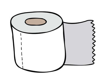 Cartoon vector illustration of toilet paper. Colored and black outlines.