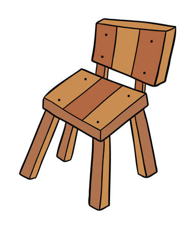 Cartoon vector illustration of wooden chair. Colored and black outlines. 矢量图像