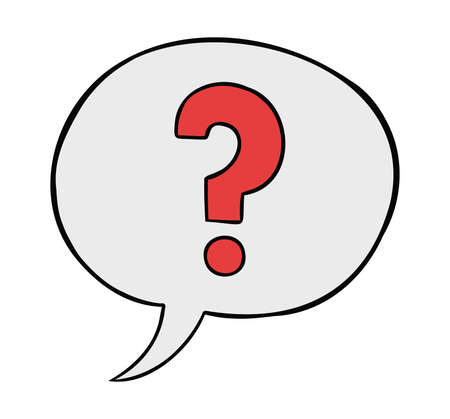 Cartoon vector illustration of speech bubble with question mark. Colored and black outlines.