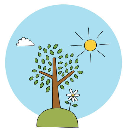 Cartoon vector illustration of tree, herbs, daisy and sunny weather. Colored and black outlines.