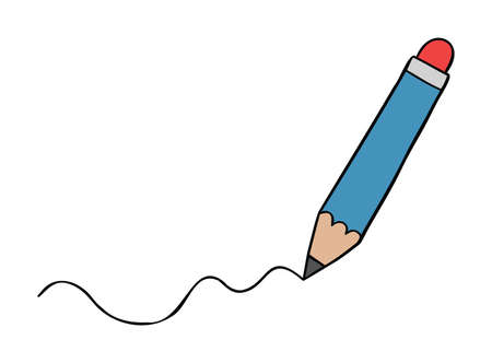 Cartoon vector illustration of pencil draws a wavy line. Colored and black outlines.