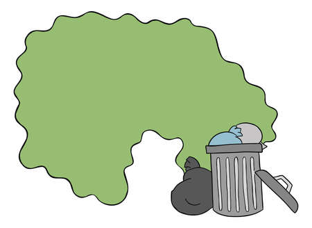 Cartoon vector illustration of garbage bin on the street and the disgusting smell of garbage. Colored and black outlines.
