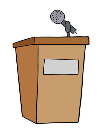 Cartoon vector illustration of wooden lectern and microphone. Colored and black outlines.