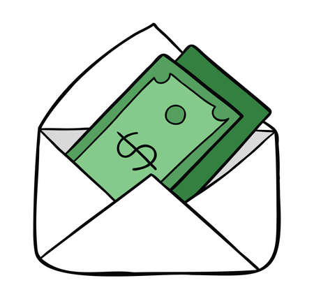 Cartoon vector illustration of dollar money in envelope. Colored and black outlines. 矢量图像