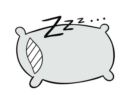 Cartoon vector illustration of pillow, sleep and zzz. Colored and black outlines.