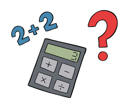 Cartoon vector illustration of calculator, wrong math and question mark. Colored and black outlines.