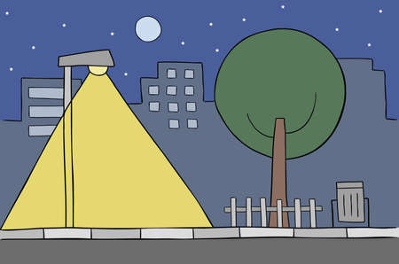 Cartoon vector illustration of city scene at night. Street lamp, tree, buildings, stars and full moon. Colored and black outlines. 矢量图像
