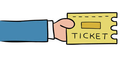 Cartoon vector illustration of man holding ticket. Colored and black outlines. 矢量图像