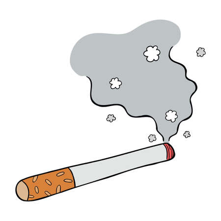 Cartoon vector illustration of burning cigarette and its smoke.