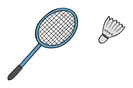 Cartoon vector illustration of badminton, racket and ball, shuttlecock.