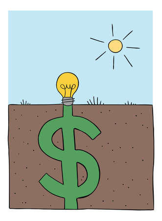 Cartoon vector illustration of light bulb idea is planted in the ground, and it fills up as a big dollar under the ground. 矢量图像