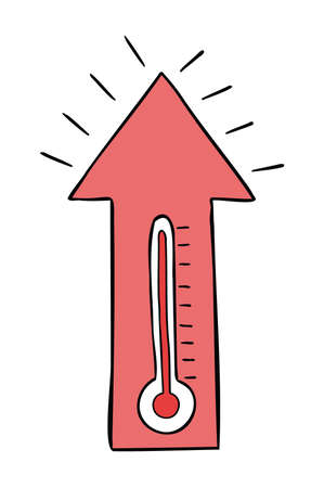 Cartoon vector illustration of thermometer, high air temperature and up arrow. 矢量图像