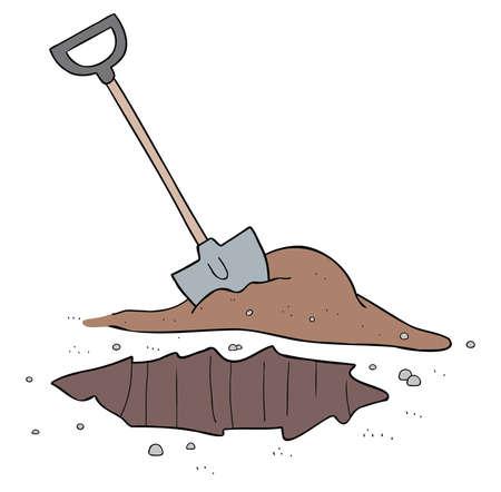 Cartoon vector illustration of shovel and dig soil.