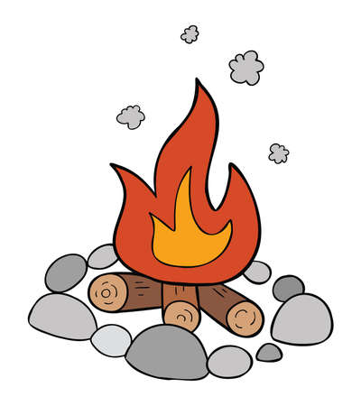 Cartoon vector illustration of campfire, stones, firewood and burning fire.