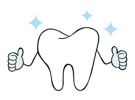 Cartoon vector illustration of white tooth mascot character give thumbs up.