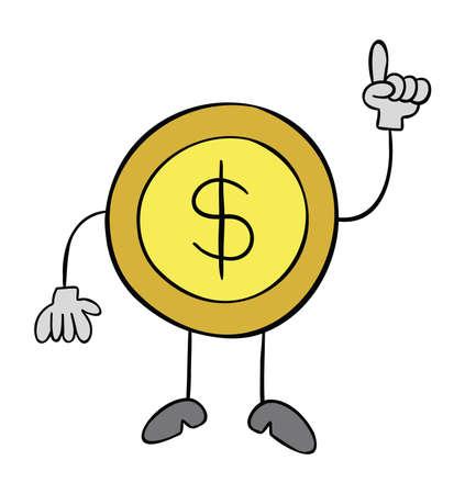Cartoon vector illustration of dollar coin mascot character showing up.