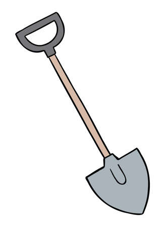 Cartoon vector illustration of a shovel. Colored and black outlines.