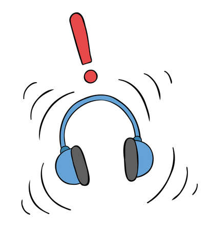 Cartoon vector illustration of headphones and listening to loud music. Colored and black outlines.