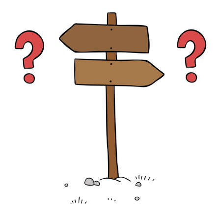Cartoon vector illustration of wooden road sign. inability to make decisions about the left and right sides. Colored and black outlines.
