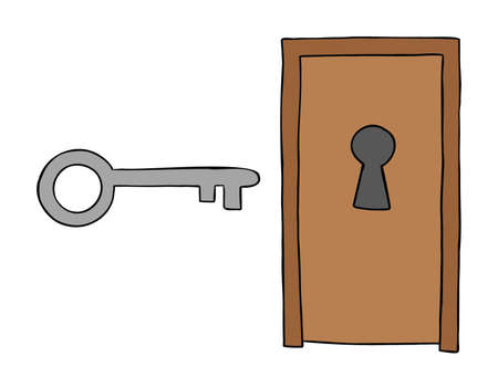 Cartoon vector illustration of wooden door with big keyhole and big key. Colored and black outlines.