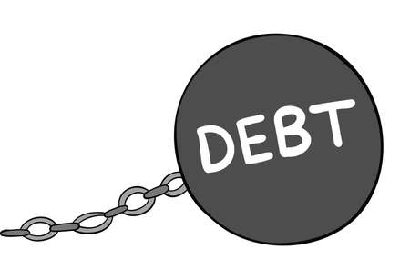 Cartoon vector illustration of big debt weight and chain. Colored and black outlines.