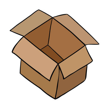 Cartoon vector illustration of open empty parcel box. Colored and black outlines.