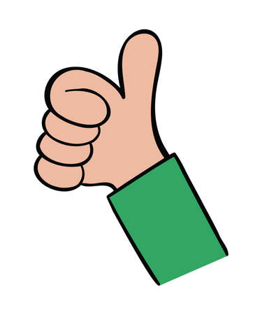 Cartoon vector illustration of man giving thumbs up. Colored and black outlines.