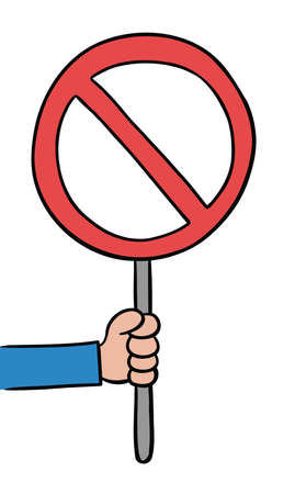 Cartoon vector illustration of man holding no sign. Colored and black outlines.