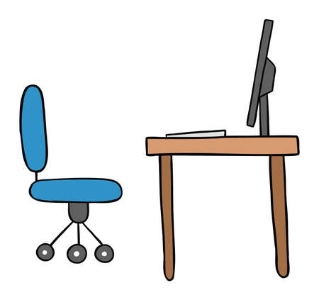 Cartoon vector illustration of desk with chair, monitor and computer. Colored and black outlines. 矢量图像